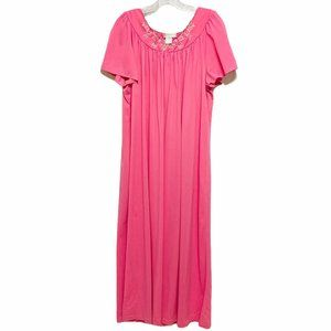 Shadownline Pink Embroidered Vintage Nightgown